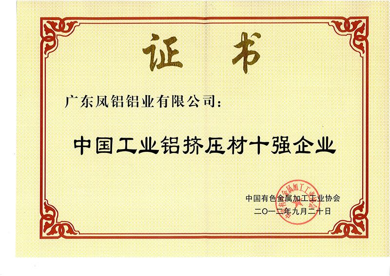 2012工业材十强
