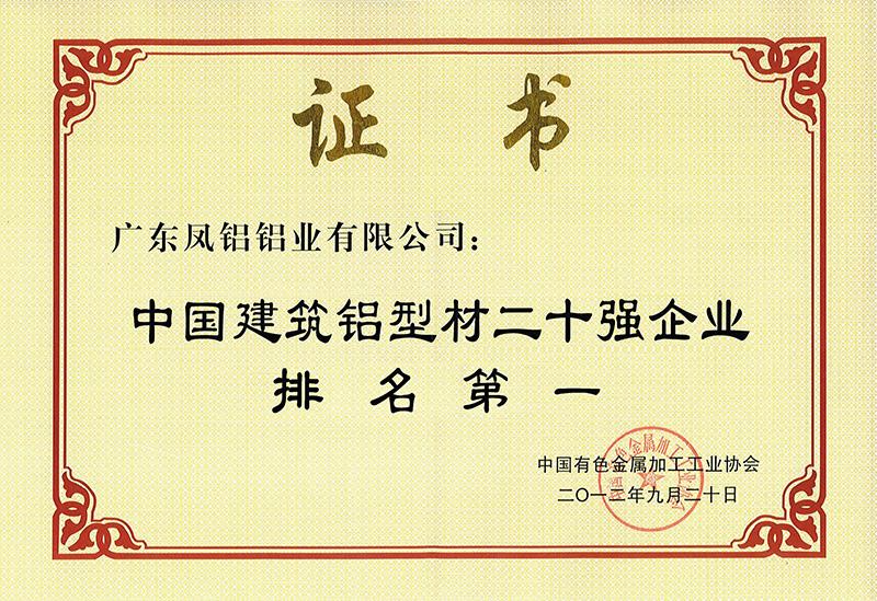 2012中国建筑铝型材二十强排名第一